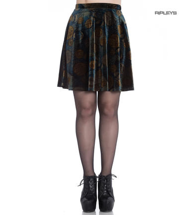 Hell Bunny Mini Skater Skirt Gothic Velvet FORTUNA Golden Coins All Sizes