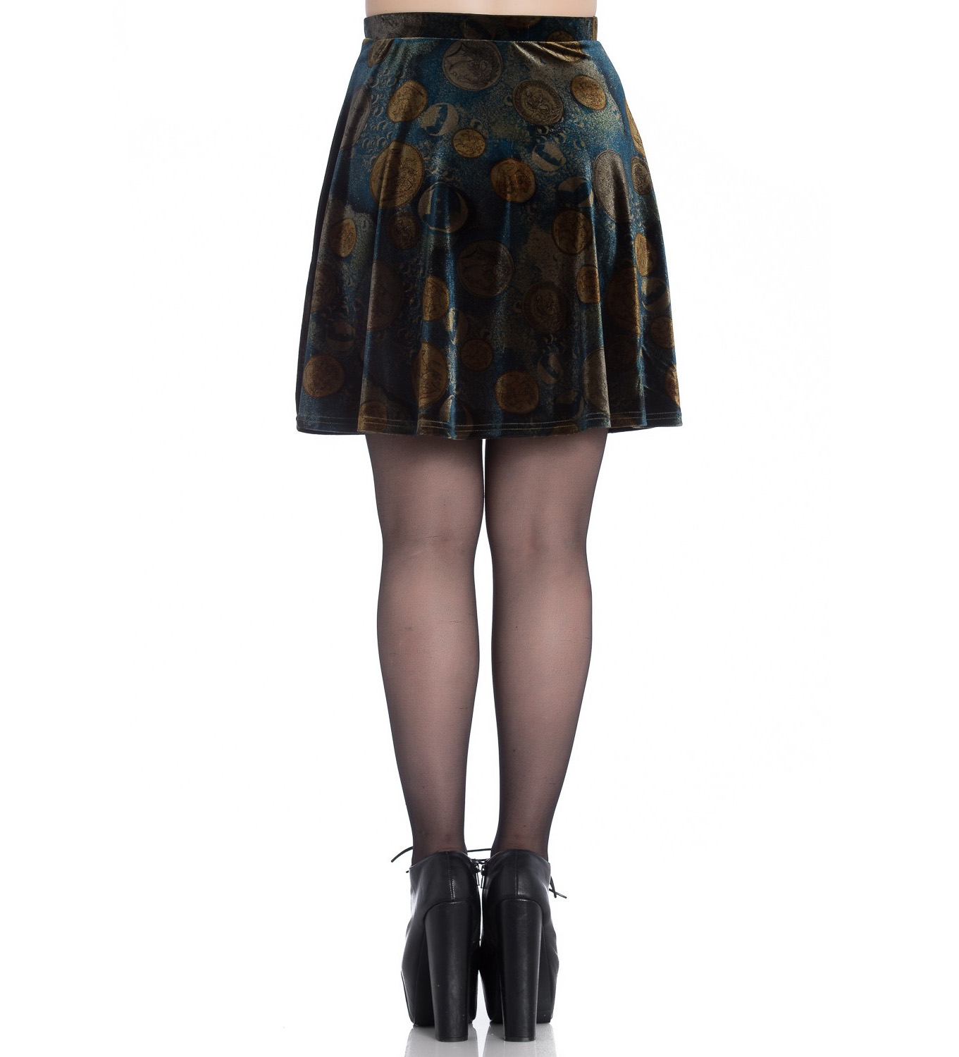 Mini Tutte Gothic Coins Skirt Golden dimensioni Hell Bunny le Fortuna Velluto Skater xznn5H