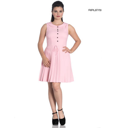 Hell Bunny 40s 50s Mini Skater Tea Dress JOSEPHINE Dusty Pink All Sizes