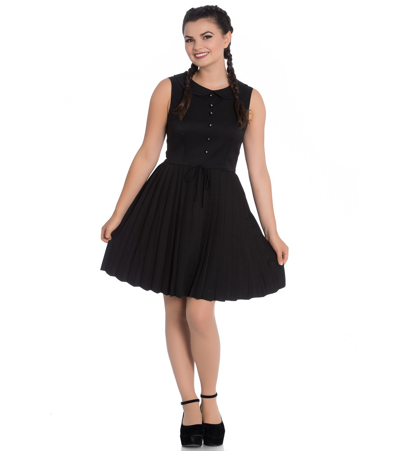 Hell-Bunny-40s-50s-Mini-Skater-Tea-Dress-JOSEPHINE-Black-All-Sizes thumbnail 11