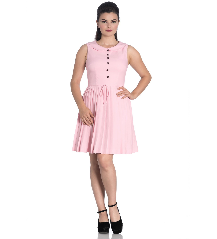Hell-Bunny-40s-50s-Mini-Skater-Tea-Dress-JOSEPHINE-Dusty-Pink-All-Sizes thumbnail 3