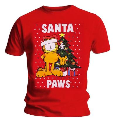 Official XMAS Red T Shirt Gift GARFIELD Santa Paws Christmas