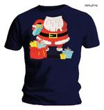 Official XMAS Navy Blue T Shirt Funny Gift SANTA Father Christmas Outfit Thumbnail 1