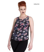 Hell Bunny Shirt Top Black Gothic Lace MORGAN Floral Flowers Skulls All Sizes Thumbnail 1