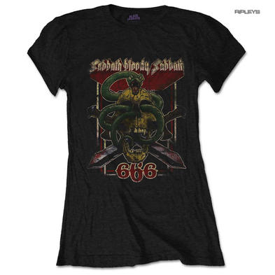 Official Skinny BLACK SABBATH T Shirt Top 'Sabbath 666' Vintage Snake All Sizes