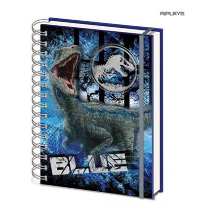 Official JURASSIC WORLD 3D Notebook Journal Stationery Gift BLUE Velociraptor