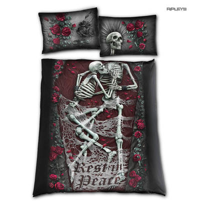 Spiral Direct BEDDING Duvet & Pillowcase REST IN PEACE Skeletons Double