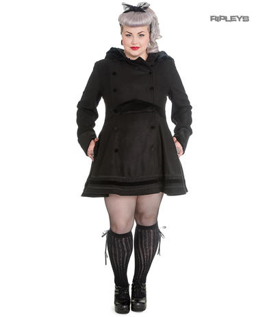 Hell Bunny 50s Pin Up Vintage Rockabilly Winter Coat MIKAELA Black All Sizes