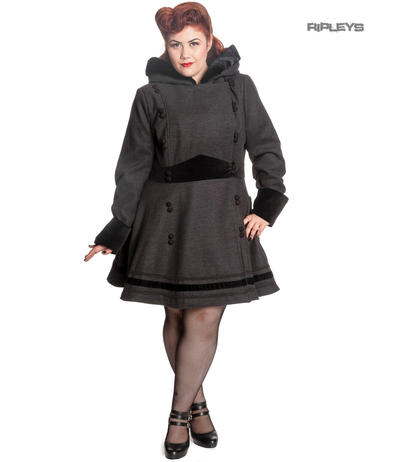 Hell Bunny 50s Pin Up Vintage Rockabilly Winter Coat SOFIA Grey/Black All Sizes