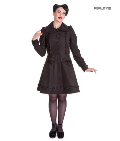 Hell Bunny 50s Vintage Rockabilly Winter Lace Coat COURTNEY Black All Sizes