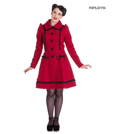 Hell Bunny 50s Vintage Rockabilly Winter Lace Coat COURTNEY Burgundy All Sizes Preview