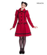 Hell Bunny 50s Vintage Rockabilly Winter Lace Coat COURTNEY Burgundy All Sizes Thumbnail 1