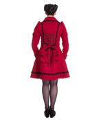 Hell Bunny 50s Vintage Rockabilly Winter Lace Coat COURTNEY Burgundy All Sizes Thumbnail 4