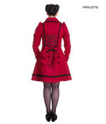 Hell Bunny 50s Vintage Rockabilly Winter Lace Coat COURTNEY Burgundy All Sizes Thumbnail 3