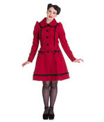 Hell Bunny 50s Vintage Rockabilly Winter Lace Coat COURTNEY Burgundy All Sizes Thumbnail 2