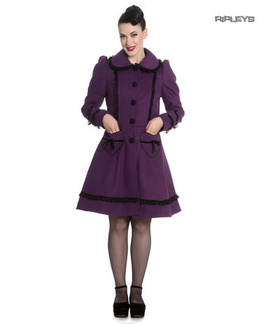 Hell Bunny 50s Vintage Rockabilly Winter Lace Coat COURTNEY Purple All Sizes