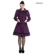Hell Bunny 50s Vintage Rockabilly Winter Lace Coat COURTNEY Purple All Sizes Thumbnail 1