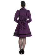 Hell Bunny 50s Vintage Rockabilly Winter Lace Coat COURTNEY Purple All Sizes Thumbnail 4