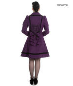 Hell Bunny 50s Vintage Rockabilly Winter Lace Coat COURTNEY Purple All Sizes Thumbnail 3