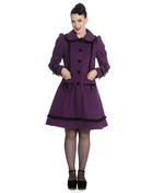 Hell Bunny 50s Vintage Rockabilly Winter Lace Coat COURTNEY Purple All Sizes Thumbnail 2