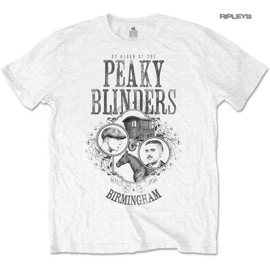 Official T Shirt PEAKY BLINDERS Shelby Brothers 'Horse & Cart' White All Sizes