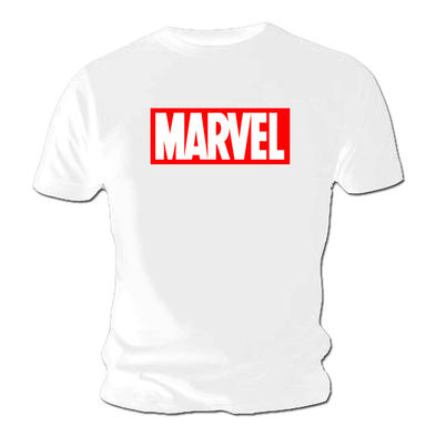 Official T Shirt MARVEL Comics White LOGO Red Classic
