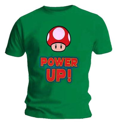 Official Gaming T Shirt Super MARIO Nintendo POWER UP Mushroom Green