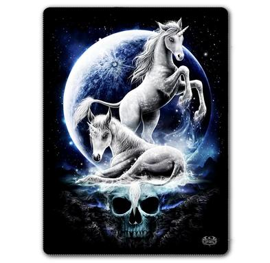 SPIRAL DIRECT Alternative Goth Black BABY UNICORN Fleece Blanket Gift