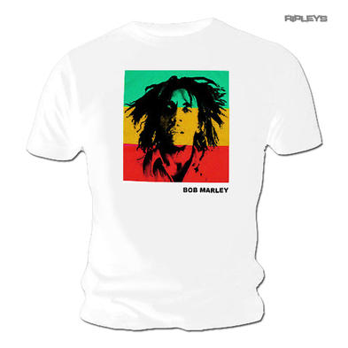 Official Unisex T Shirt BOB MARLEY Rasta STRIPE Block Photo White