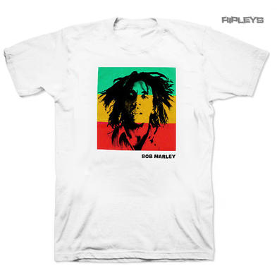 Official Unisex T Shirt BOB MARLEY Rasta STRIPE Block Photo White Preview