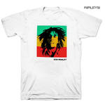 Official Unisex T Shirt BOB MARLEY Rasta STRIPE Block Photo White Thumbnail 1