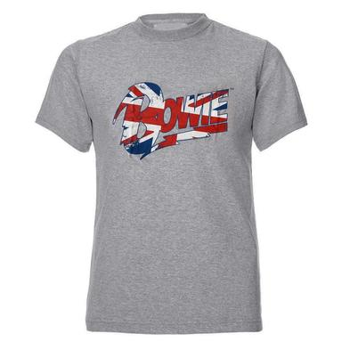 Official Unisex T Shirt DAVID BOWIE Grey Flag UK Distressed Logo All Sizes