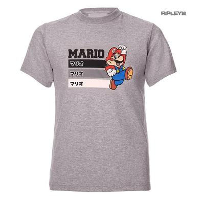Official Gaming T Shirt Super MARIO Nintendo STRIPES Grey