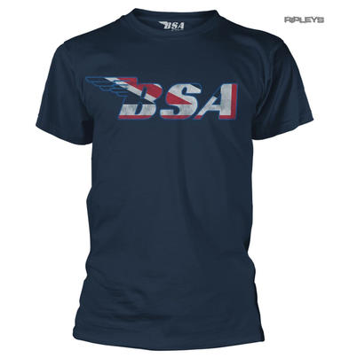 Official T Shirt BSA British Motorcycles Bike Logo FLAG Mask Blue All Sizes