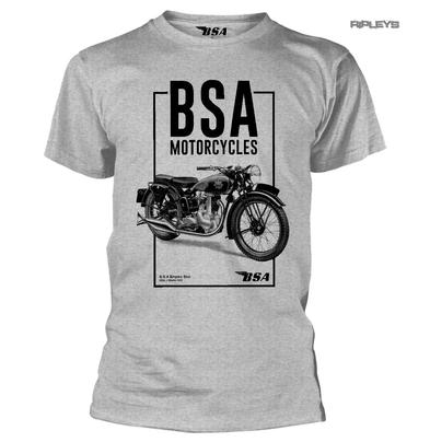 Official T Shirt BSA British Motorcycles Bike Logo TALL BOX Grey All Sizes