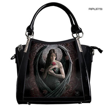 ANNE STOKES 3D Large Hand Bag Black PVC Goth Angel Fairy 'Angel Rose'
