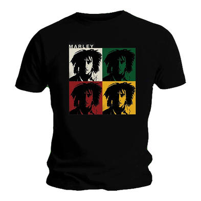 Official Unisex T Shirt BOB MARLEY Rasta Distressed SQAURES Vintage