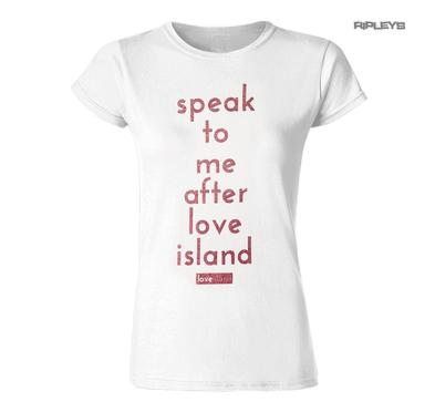 Official Ladies Skinny T Shirt LOVE ISLAND White Pink Glitter 'Speak To Me..'