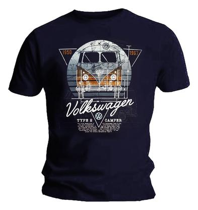 Official Unisex T Shirt VOLKSWAGEN Camper 'Campre Type #2' Navy Blue