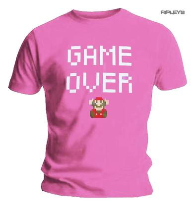 Nintendo Official Unisex Gaming T Shirt Super MARIO Bros GAME OVER Pink