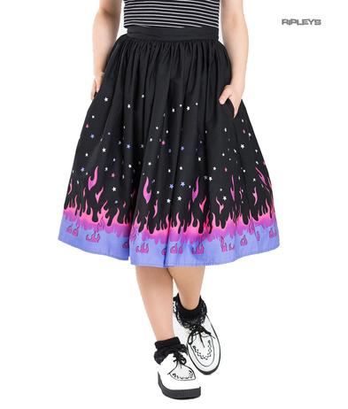 Hell Bunny 50s Black Retro Skirt PINBALL Purple Pink Flames Stars All Sizes