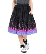 Hell Bunny 50s Black Retro Skirt PINBALL Purple Pink Flames Stars All Sizes Thumbnail 2