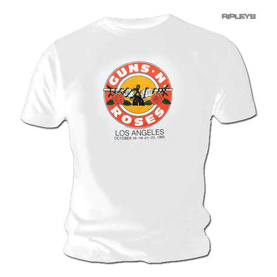 Official T Shirt GUNS N ROSES White Los Angeles 'LA 1989' Tour Date Preview