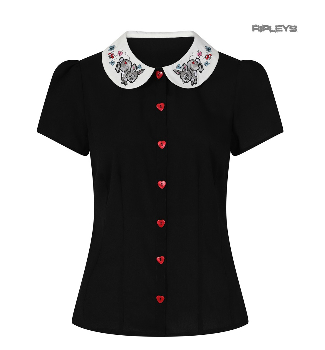 Hell-Bunny-Shirt-Top-Black-Blouse-THUMPER-Easter-Rabbit-Flowers-All-Sizes thumbnail 8