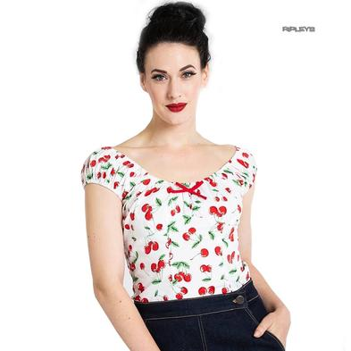 Hell Bunny Shirt 50s Vintage Rockabilly Top SWEETIE Cherry Top White All Sizes