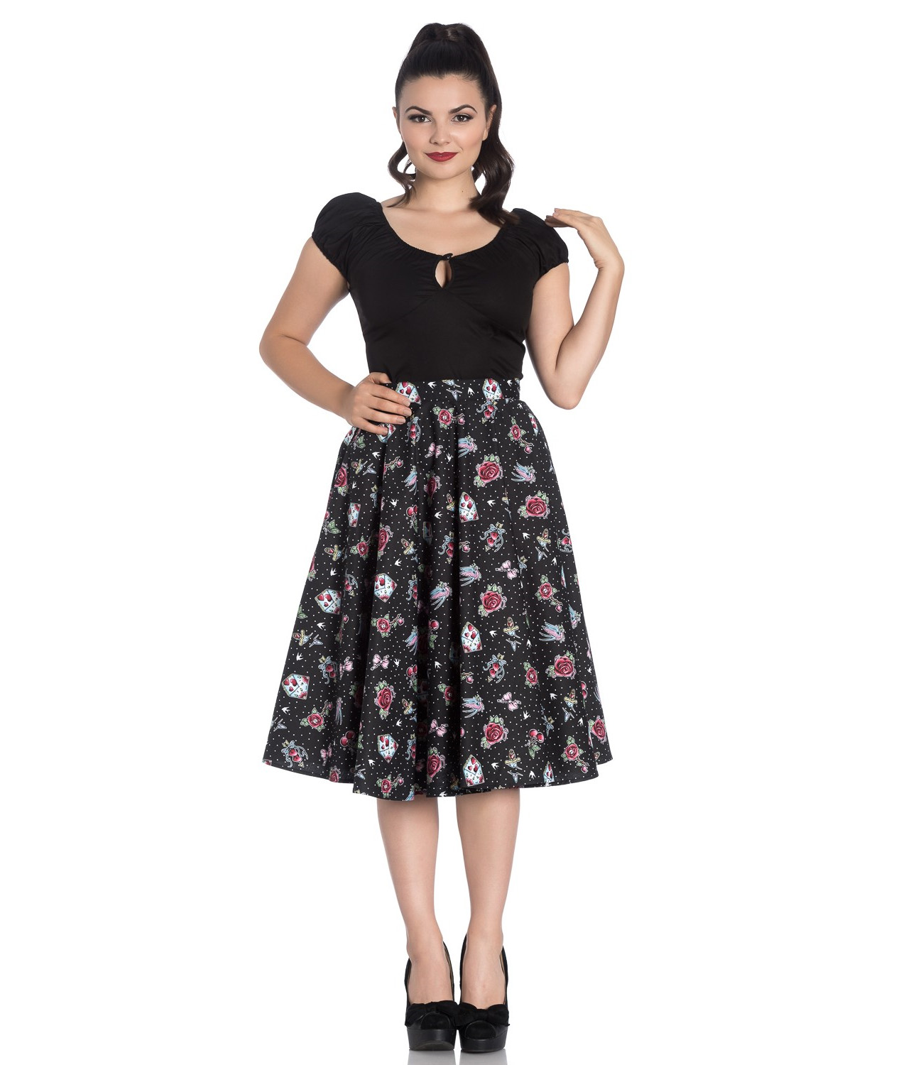 3179fe387ca7 Sentinel Hell Bunny 50s Skirt Vintage Rockabilly Cherry Swallow STEVIE  Tattoo All Sizes