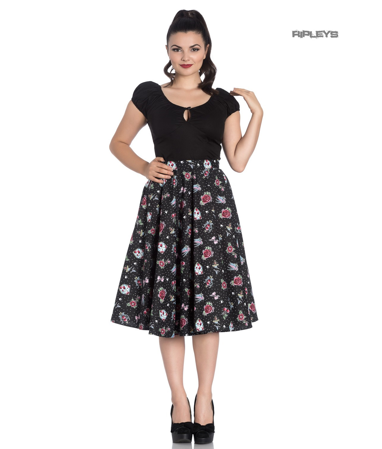 d11e413df053 Sentinel Hell Bunny 50s Skirt Vintage Rockabilly Cherry Swallow STEVIE  Tattoo All Sizes