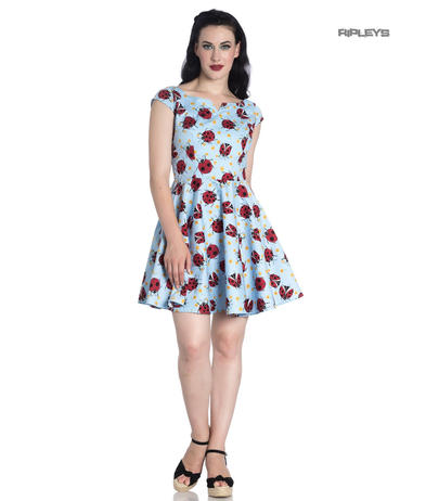 Hell Bunny Rockabilly Mini Dress Blue LILA Ladybirds Daisy All Sizes