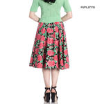 Hell Bunny 50s Vintage Black Skirt Floral Flowers DARCY Pink Roses All Sizes Thumbnail 3