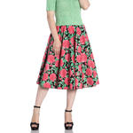 Hell Bunny 50s Vintage Black Skirt Floral Flowers DARCY Pink Roses All Sizes Thumbnail 2
